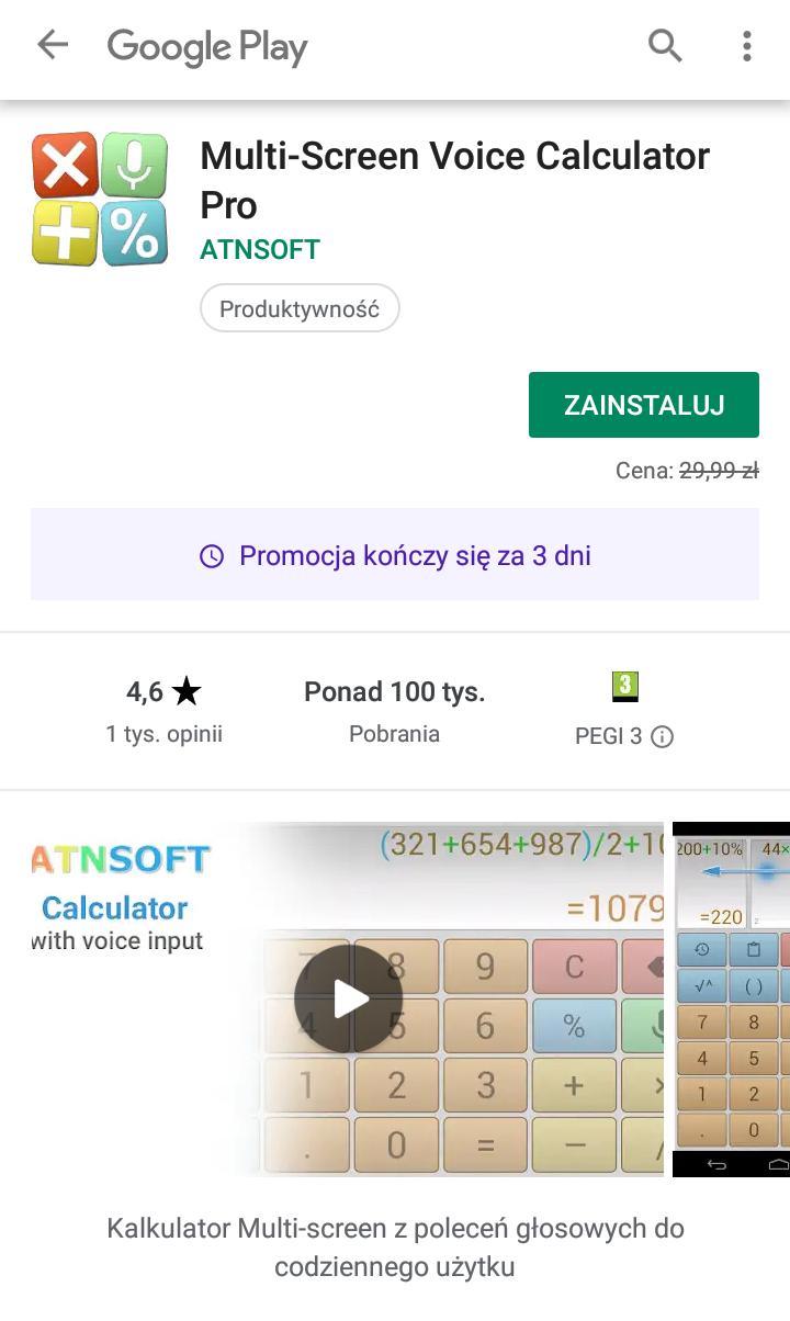 Multi-Screen Voice Calculator Pro - Android, kalkulator