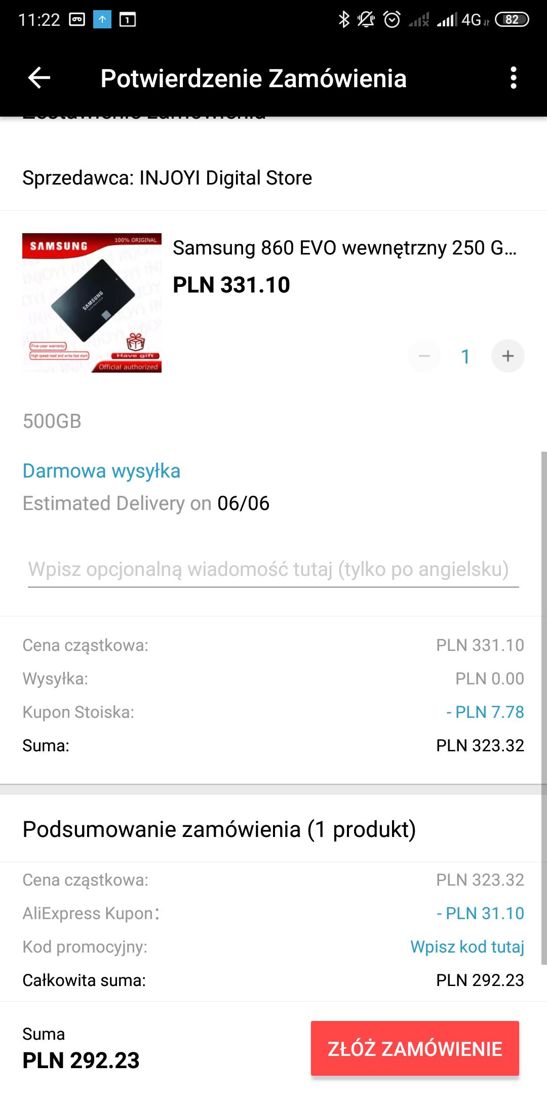SSD Samsung 860 Evo 500GB możliwe 284,45zł.