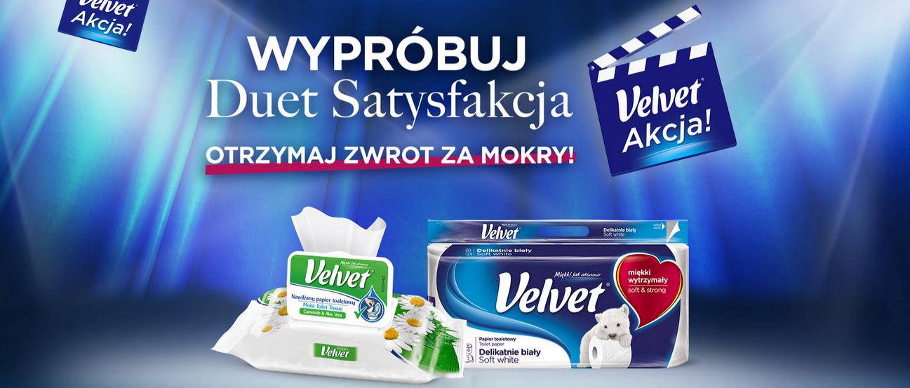 Kup papier toaletowy Velvet suchy oraz nawilżany, a za jeden z nich otrzymasz ZWROT