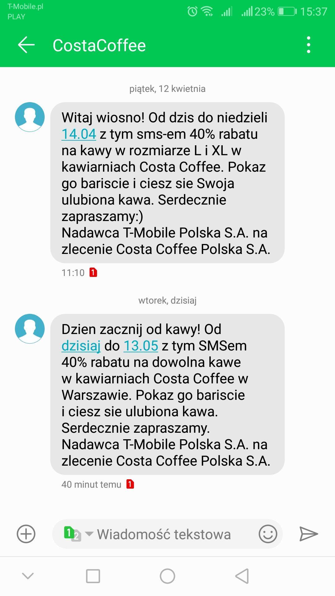 Zniżka 40% na kawy w costa coffee WARSZAWA.