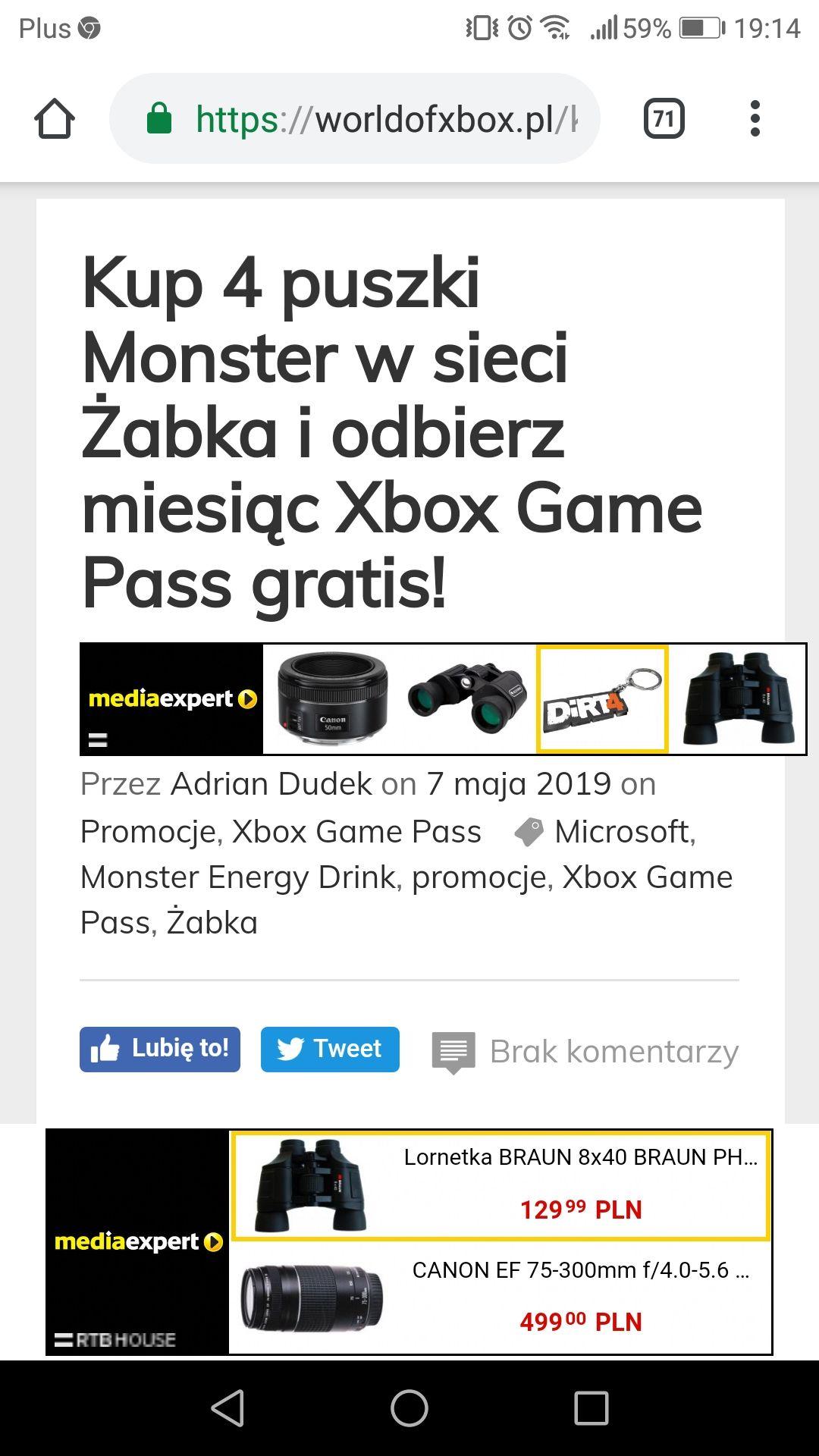 Kup 4 puszki Monster w sieci Żabka i odbierz miesiąc Xbox Game Pass gratis!