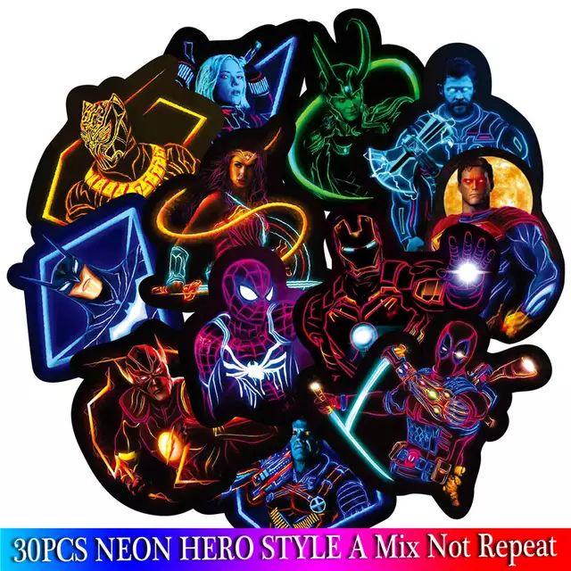 Neonowe naklejki Avengers Endgame - 30 sztuk