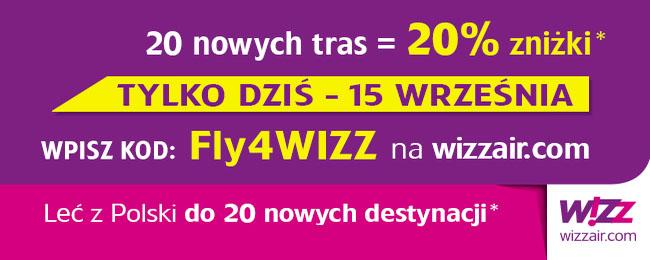 TYLKO DZISIAJ! 20% zniżki z kodem rabatowym @ Wizz Air