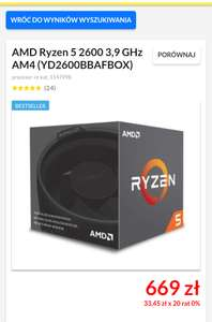 AMD Ryzen 5 2600 @RTV Euro AGD