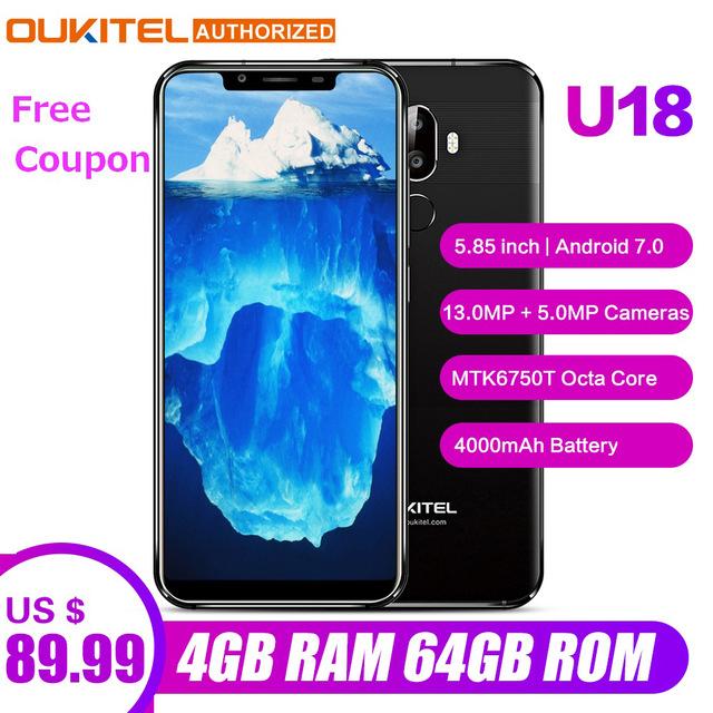 Oukitel U18 Face ID 5.85 inch 21:9 Android 7.0 Octa Core 4/64GB 16MP+13MP za 89.99$