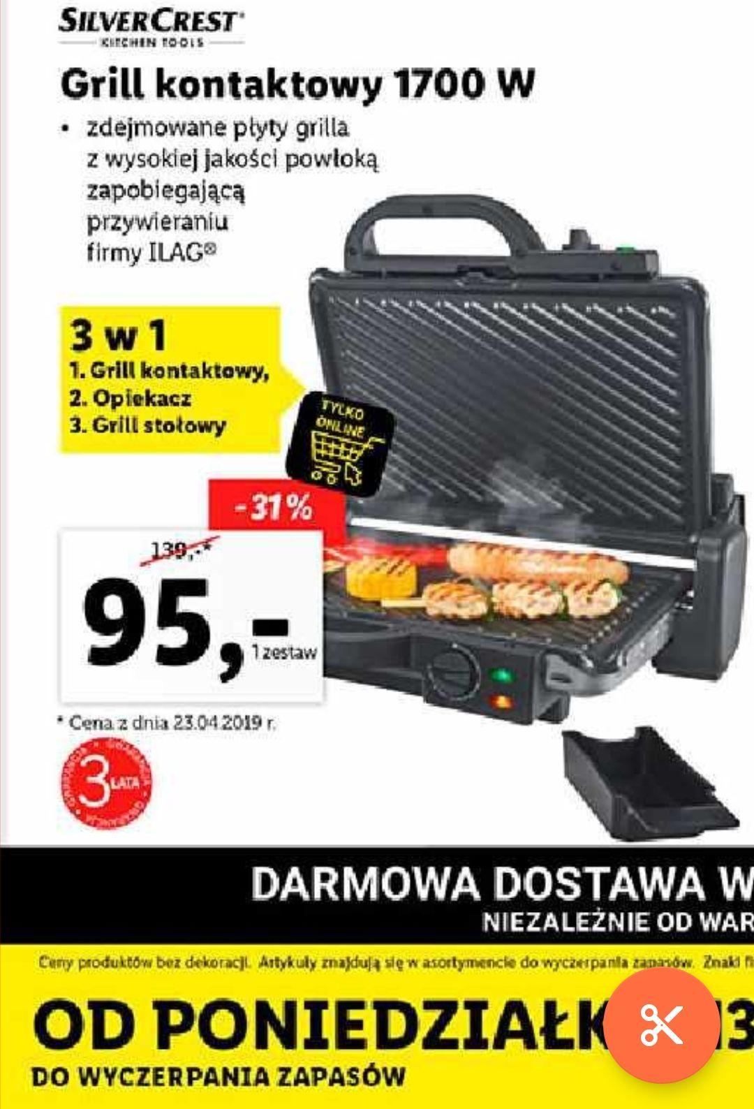 Grill elektryczny kontaktowy 3w1 1700W SilverCrest@lidl-sklep.pl
