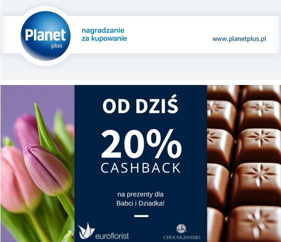 20% Cashback Euroflorist i Chocolissimo @planetplus
