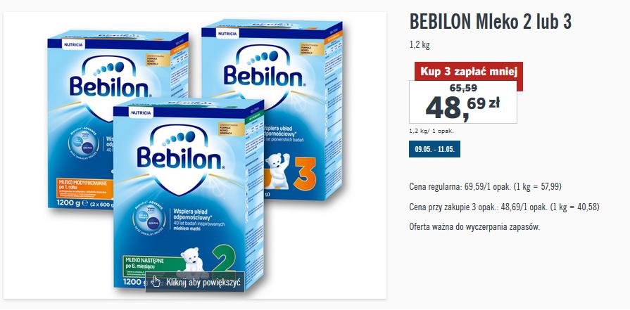 Mleko Bebilon 1200g za 48,69zł (przy zakupie trzech) @ Lidl