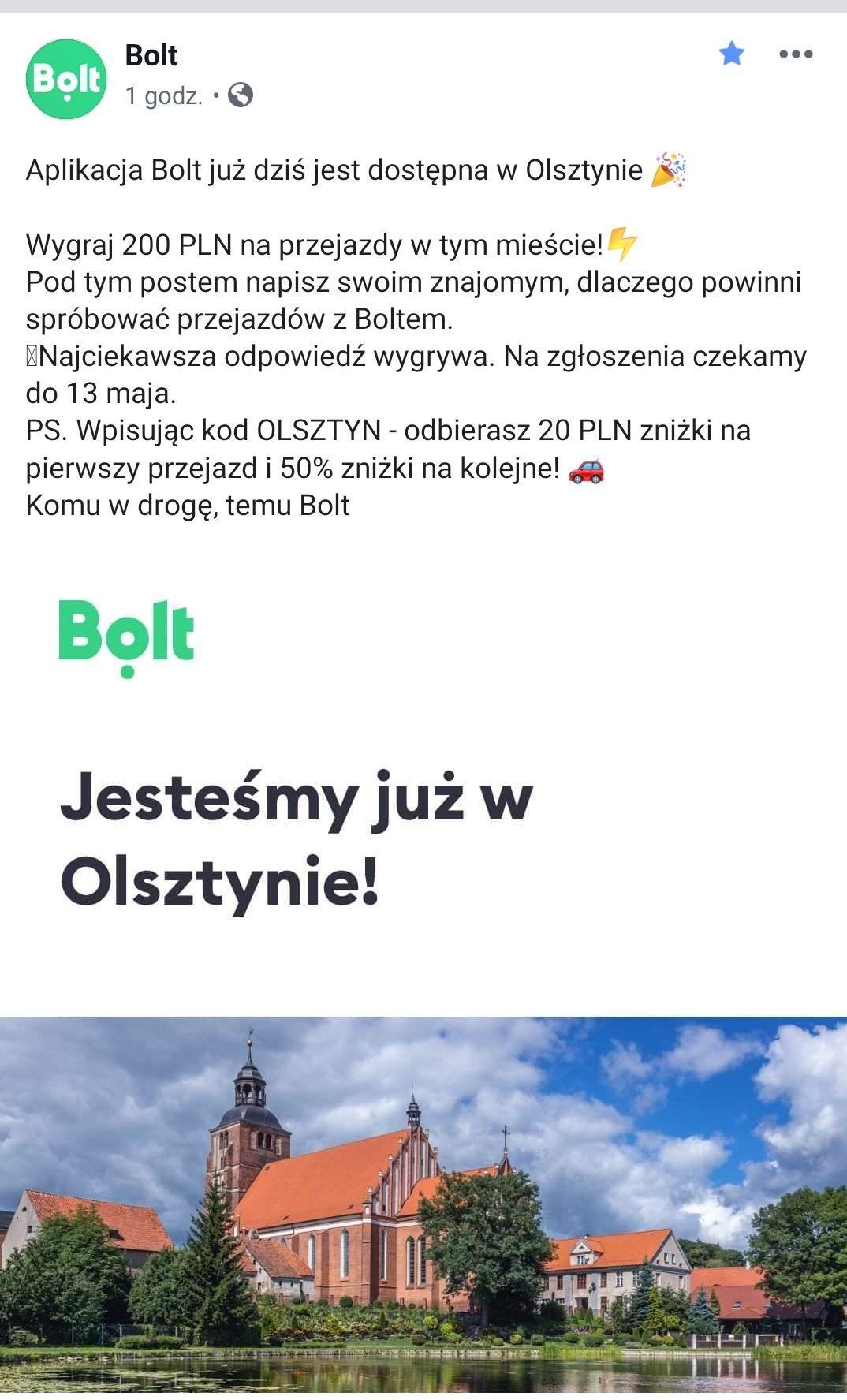Bolt (dawniej Taxify) w Olsztynie i Kielcach! -20ZŁ na pierwszy przejazd i -50% na kolejne
