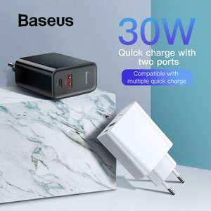 Ładowarka Baseus 30W QC 4.0 + Kabel Baseus USB C 1M