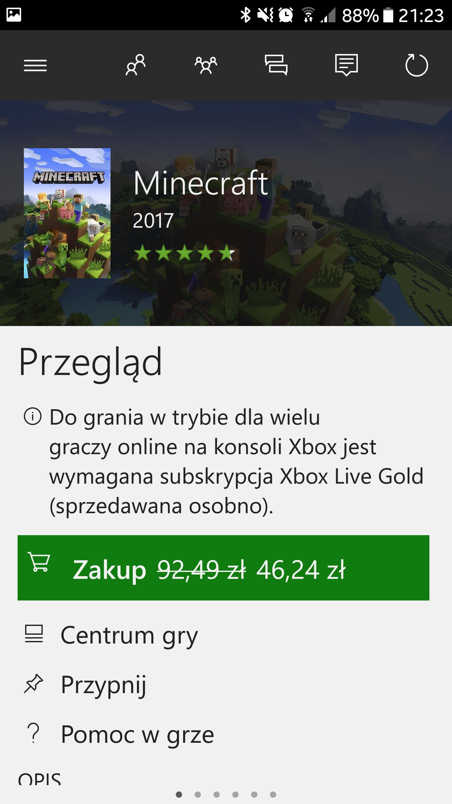 Minecraft promocja w MS Store