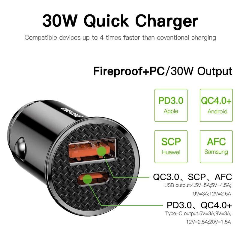 Baseus 30W ładowarka samochodowa QC4.0 QC3.0 QC 5A PD