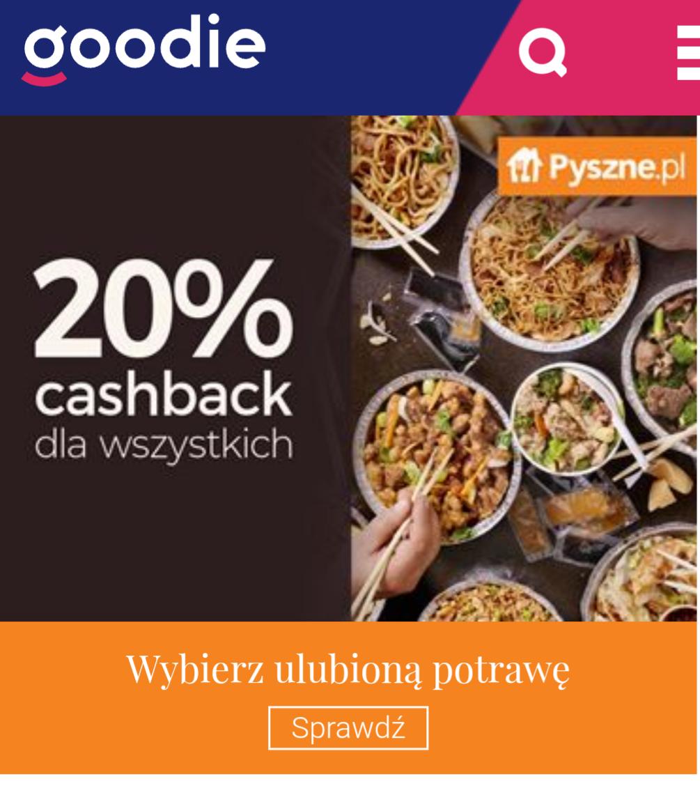 20% cashback w goodie na Pyszne.pl weekend 10.05-12.05