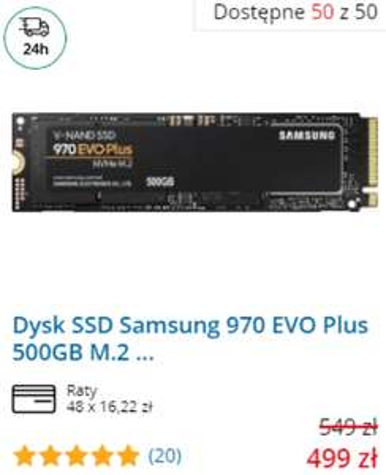 Dysk SSD Evo 970 Samsung w morele.net