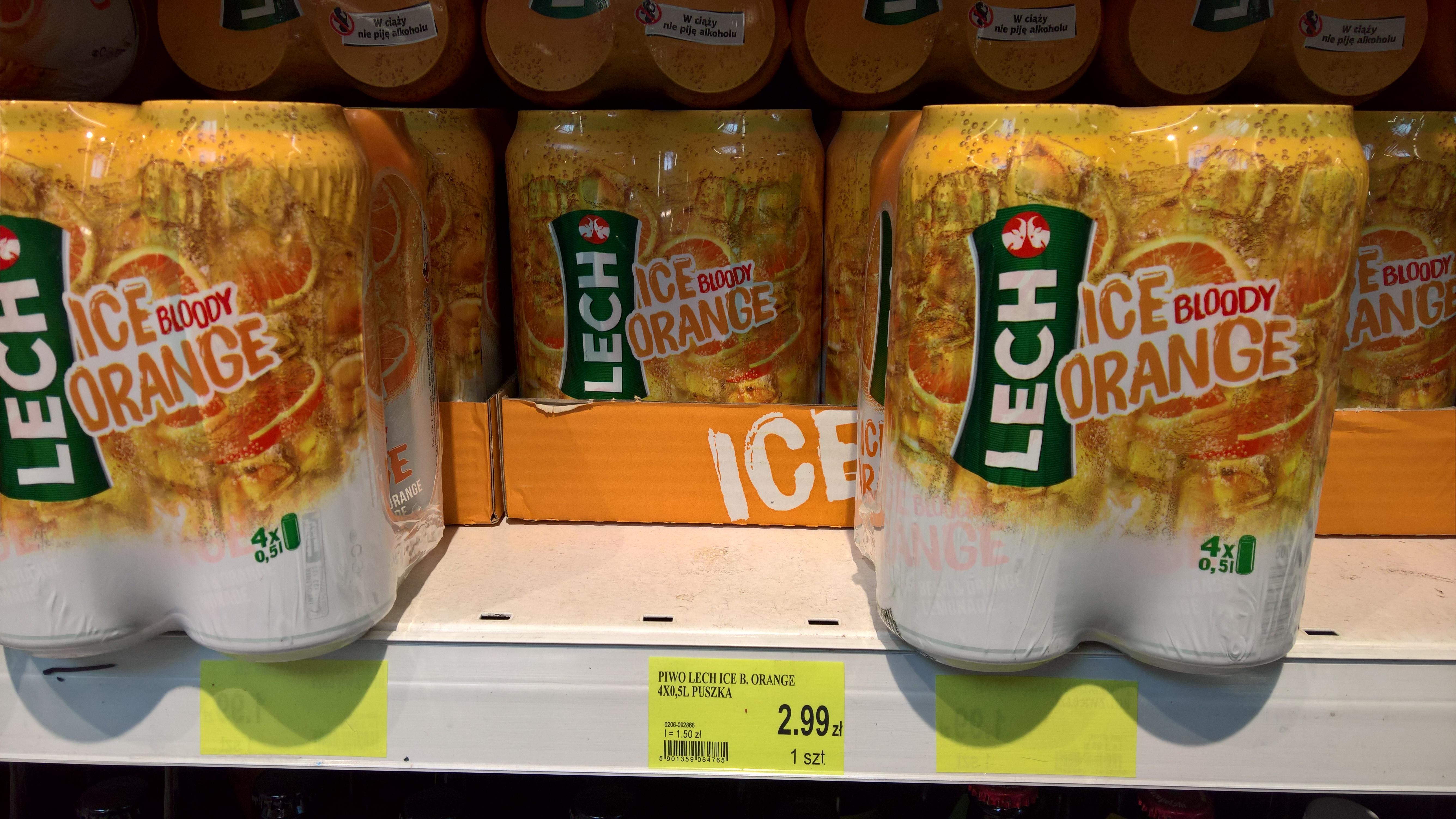 Lech Ice Bloody Orange 4 x 0,5l lub 0,5 l @E.Leclerc