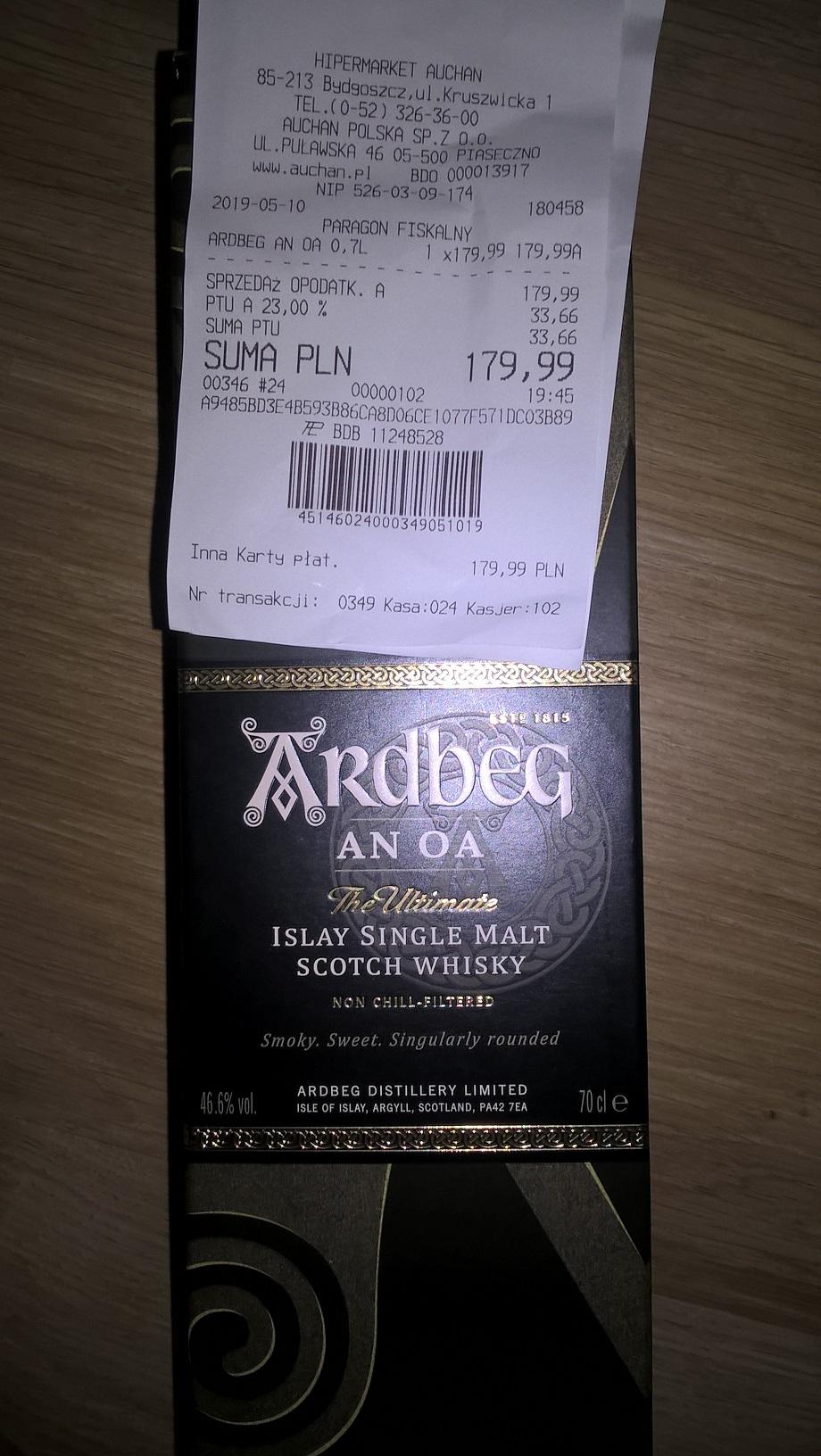 Whisky Ardbeg An Oa 0,7, Auchan