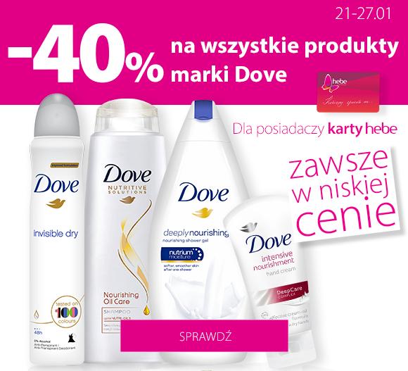 -40% na wszystkie produkty marki Dove w Hebe