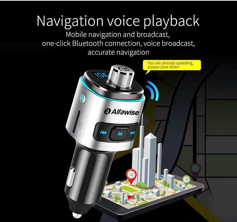 Transmiter FM Alfawise Bluetooth ładowarka QC3.0 USB/SD