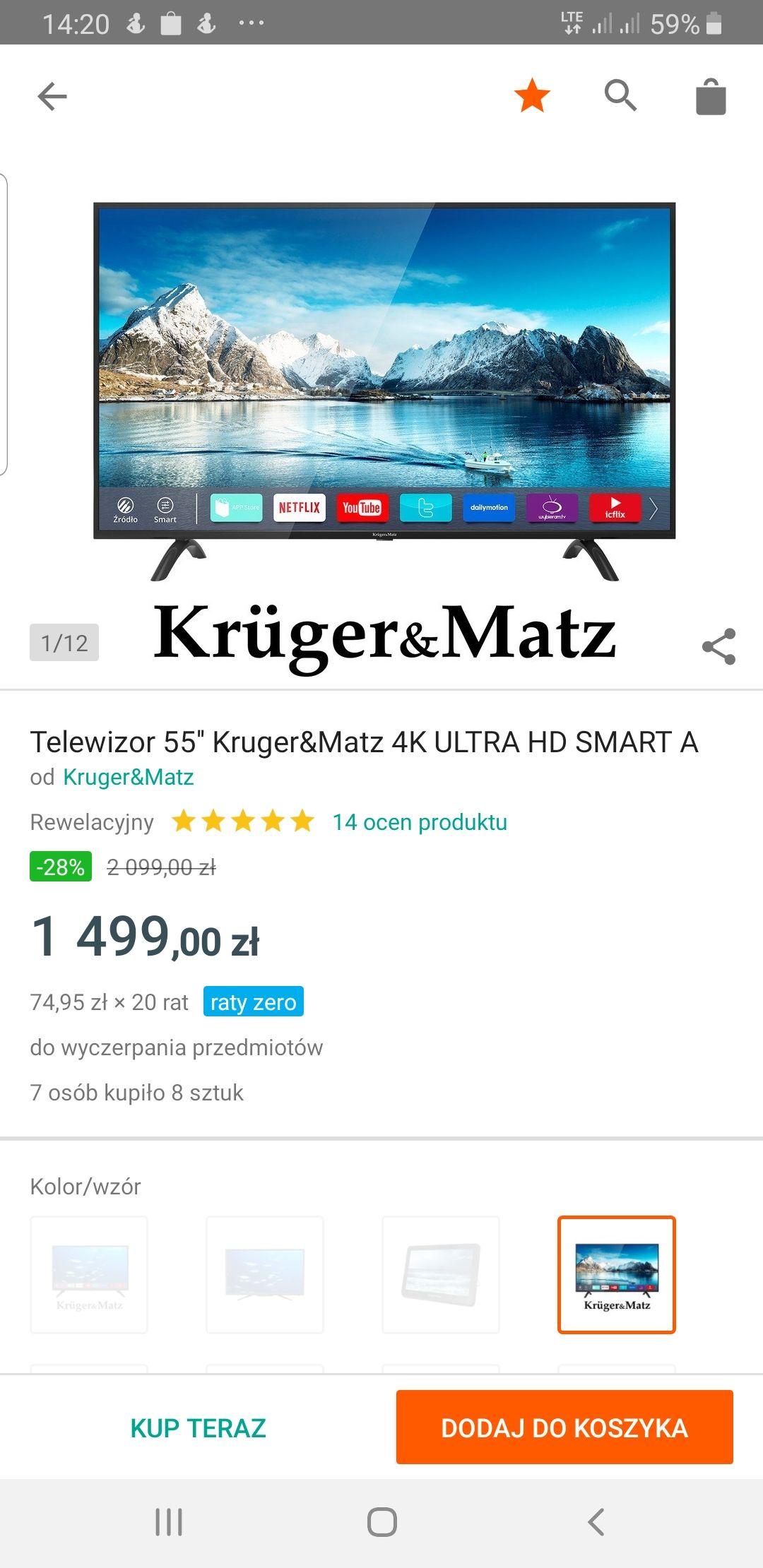 Telewizor 55'' Kruger&Matz 4K ULTRA HD SMART A