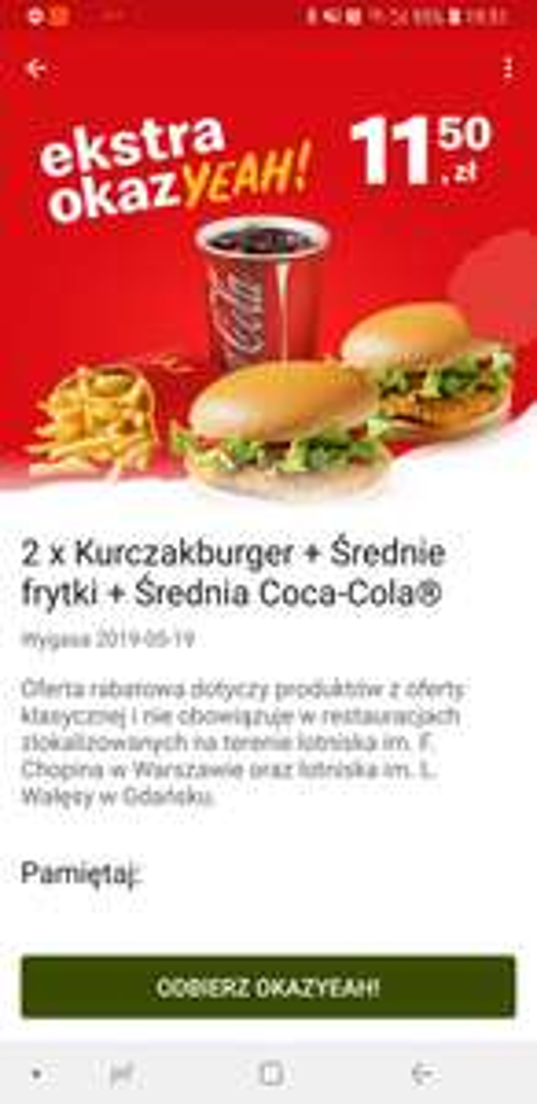 McDonald 2xkurczakburger, średnie frytki, średnia cola