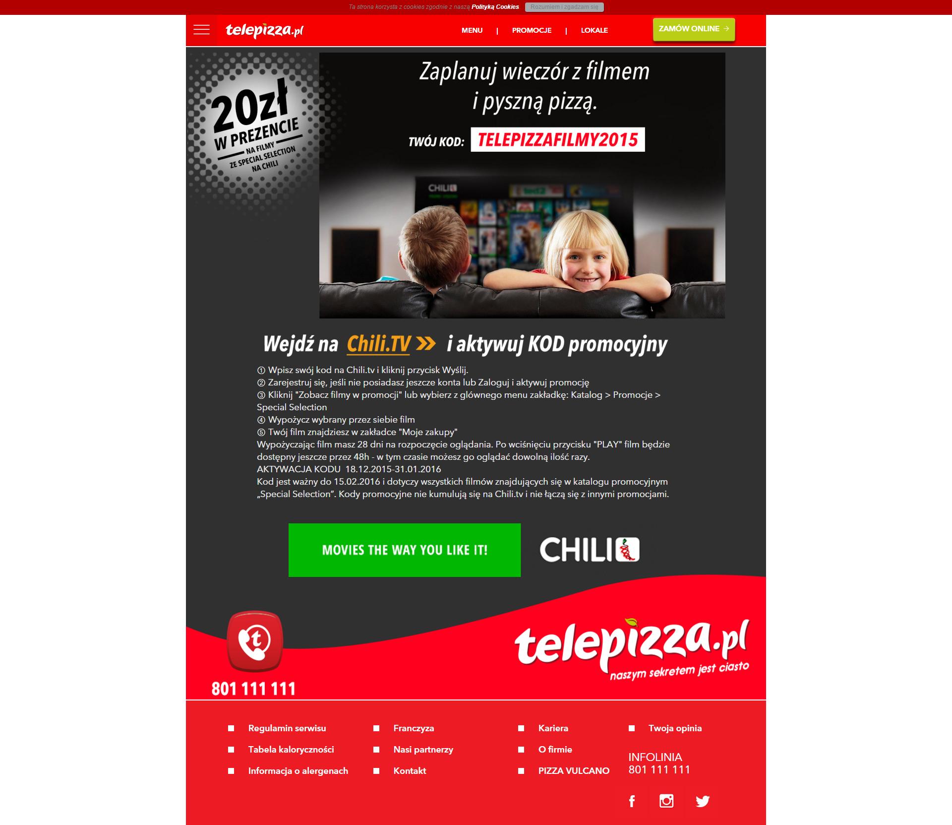 Oferta na 2 pizze w cenie 1 w Telepizza i film za darmo!
