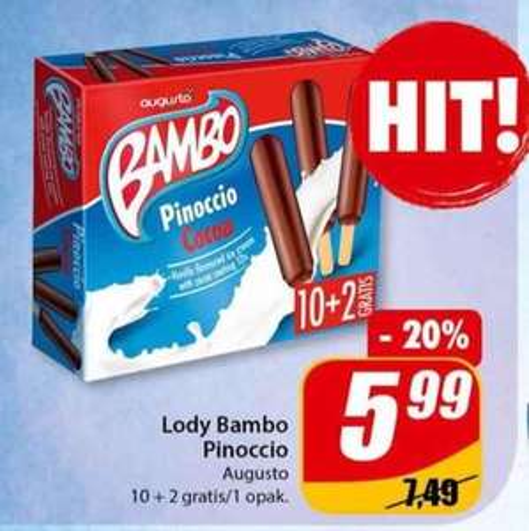 12pak lodów Bambo Pinoccio od Augusto - Tanio w sklepach DINO