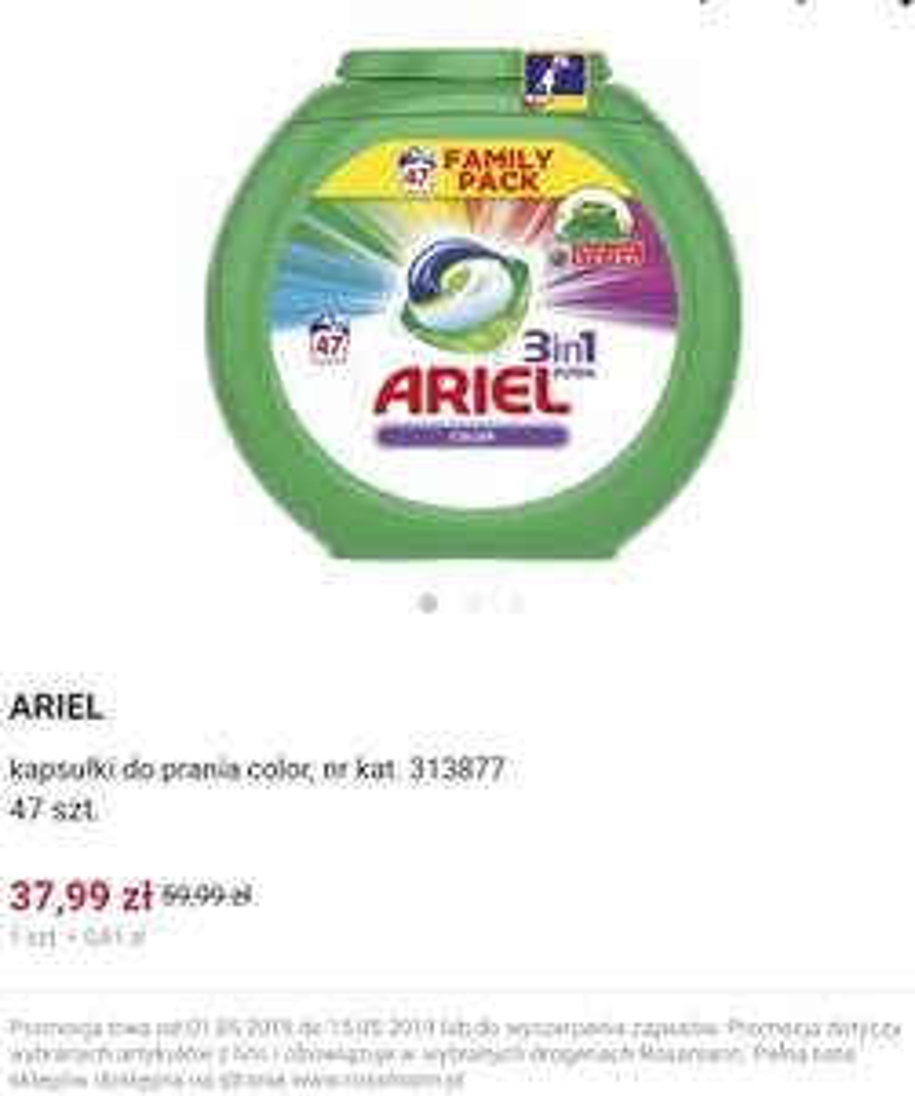Kapsułki Ariel 47 sztuk (0,80 zł/szt) Rossmann