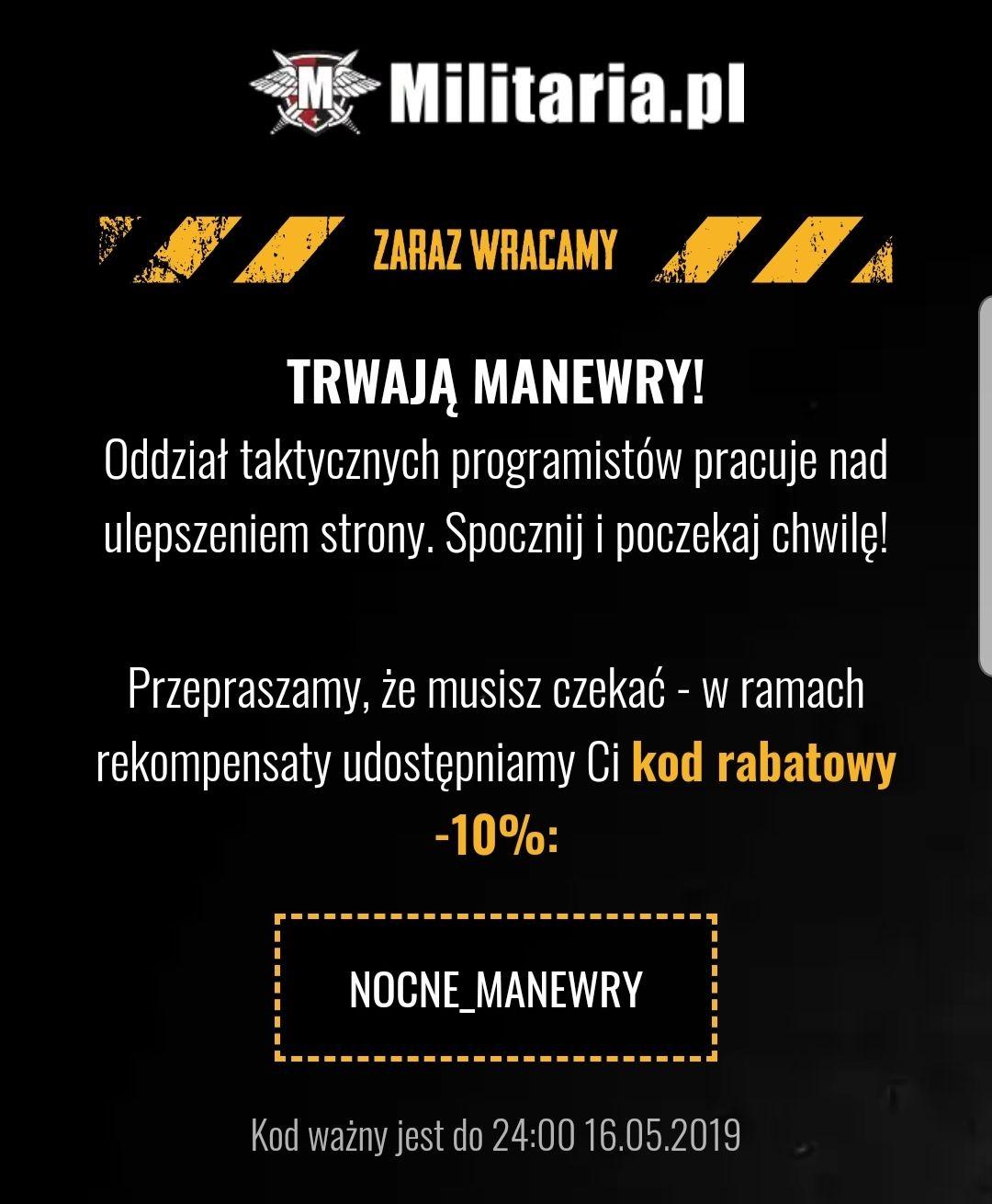 Militaria.pl -10% za nocne serwisowanie