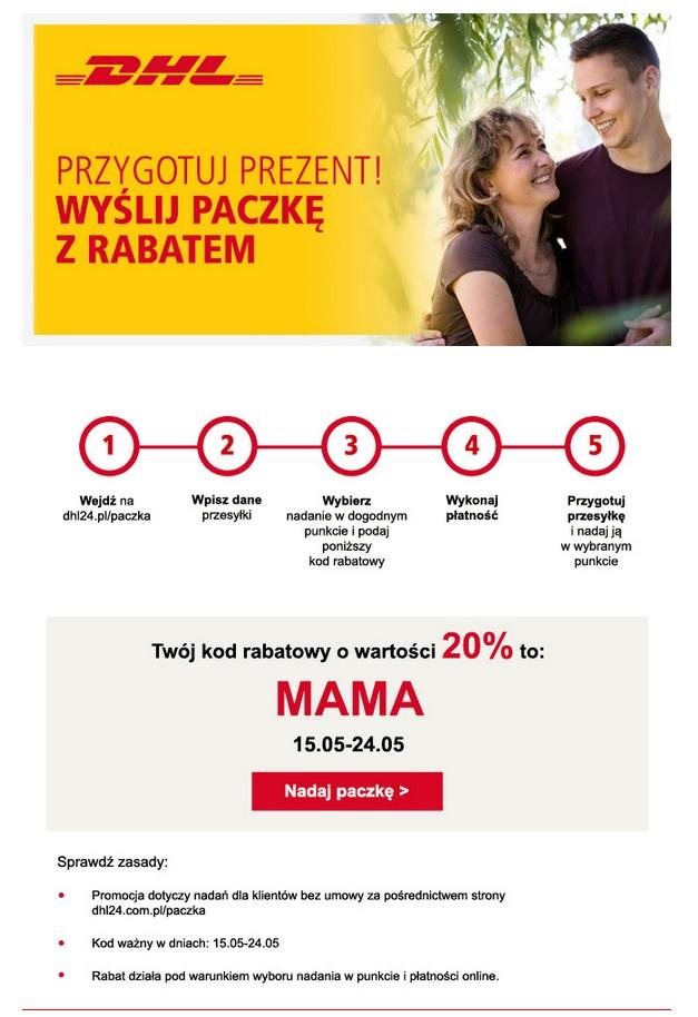 -20% dla paczek wysyłanych za pośrednictwem DHL z okazji Dnia Matki!