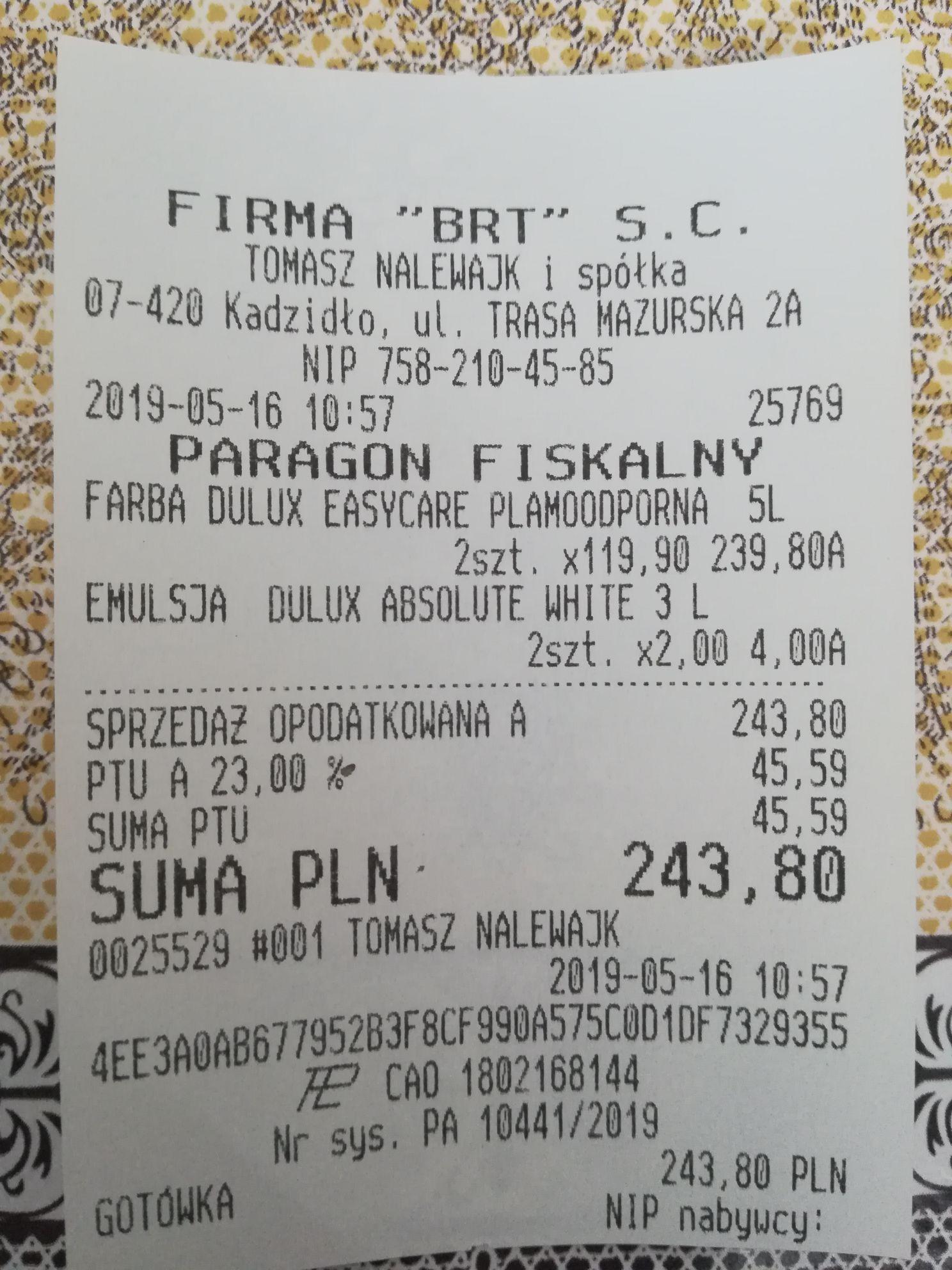 Emulsja dulux biała za 2 zł |Sklep BRT Kadzidło