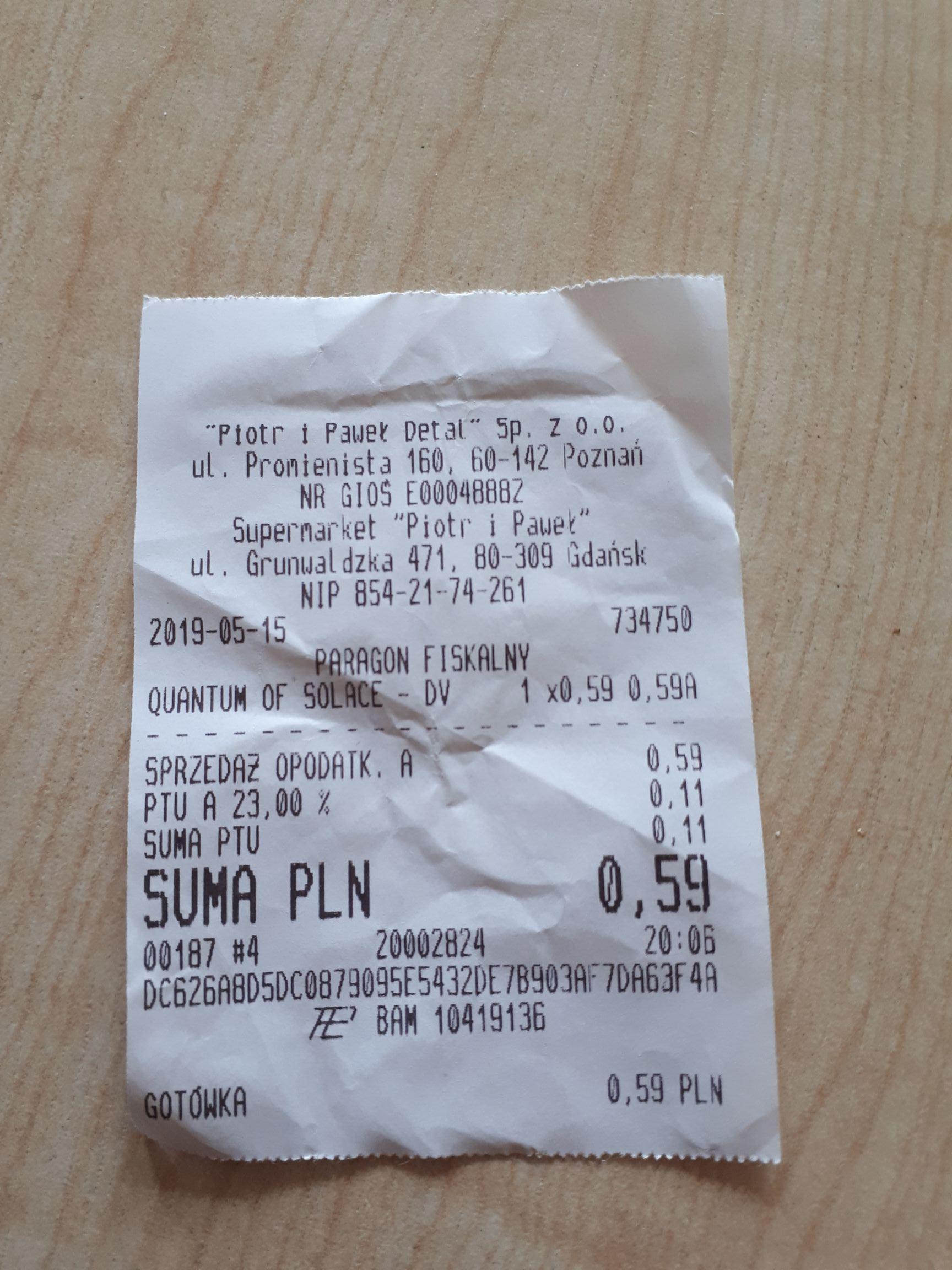 Bond Quantum of Solace na DVD @ Piotr i Paweł (Poznań, Promienista)