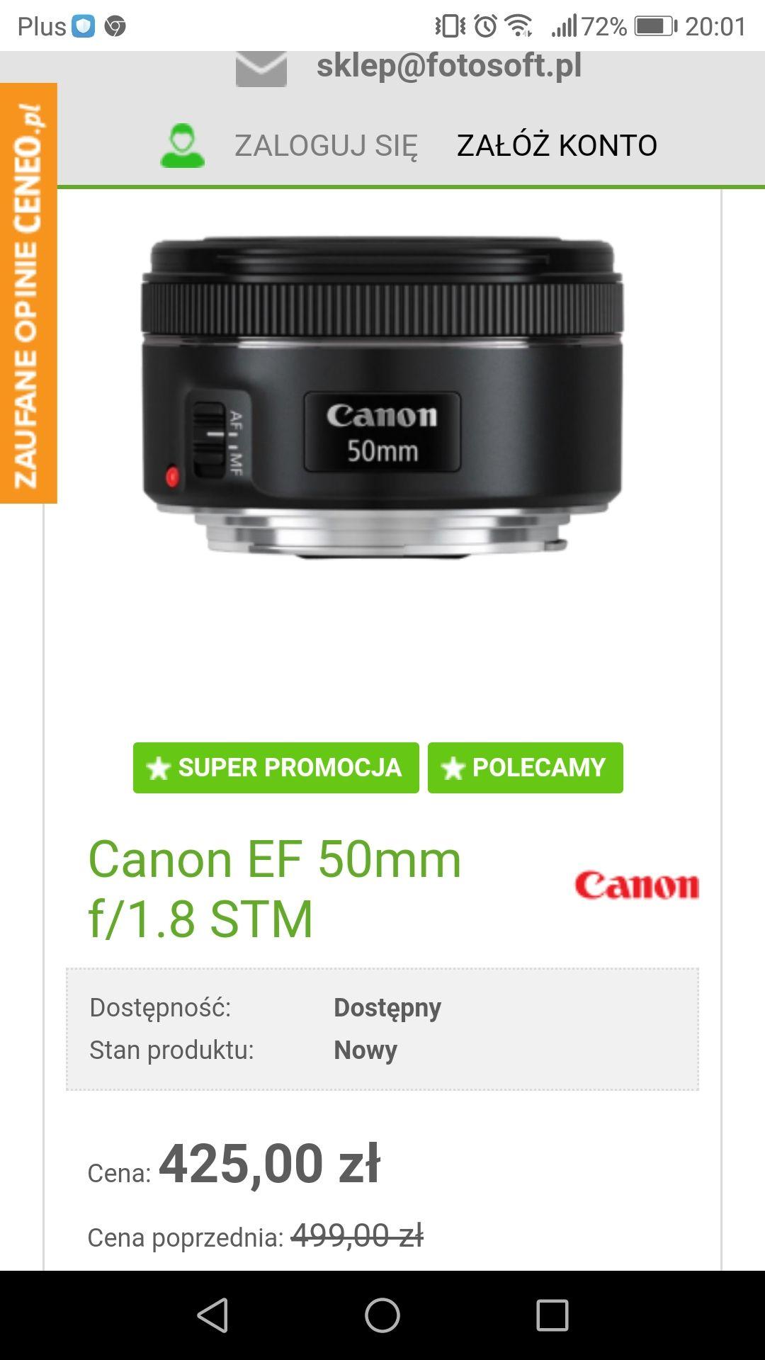 Obiektyw canon 50mm 1.8 EF z stm