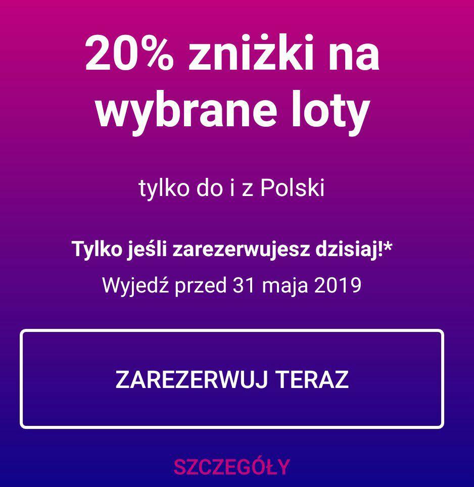 Wizzair -20% na loty do i z Polski do 31.05