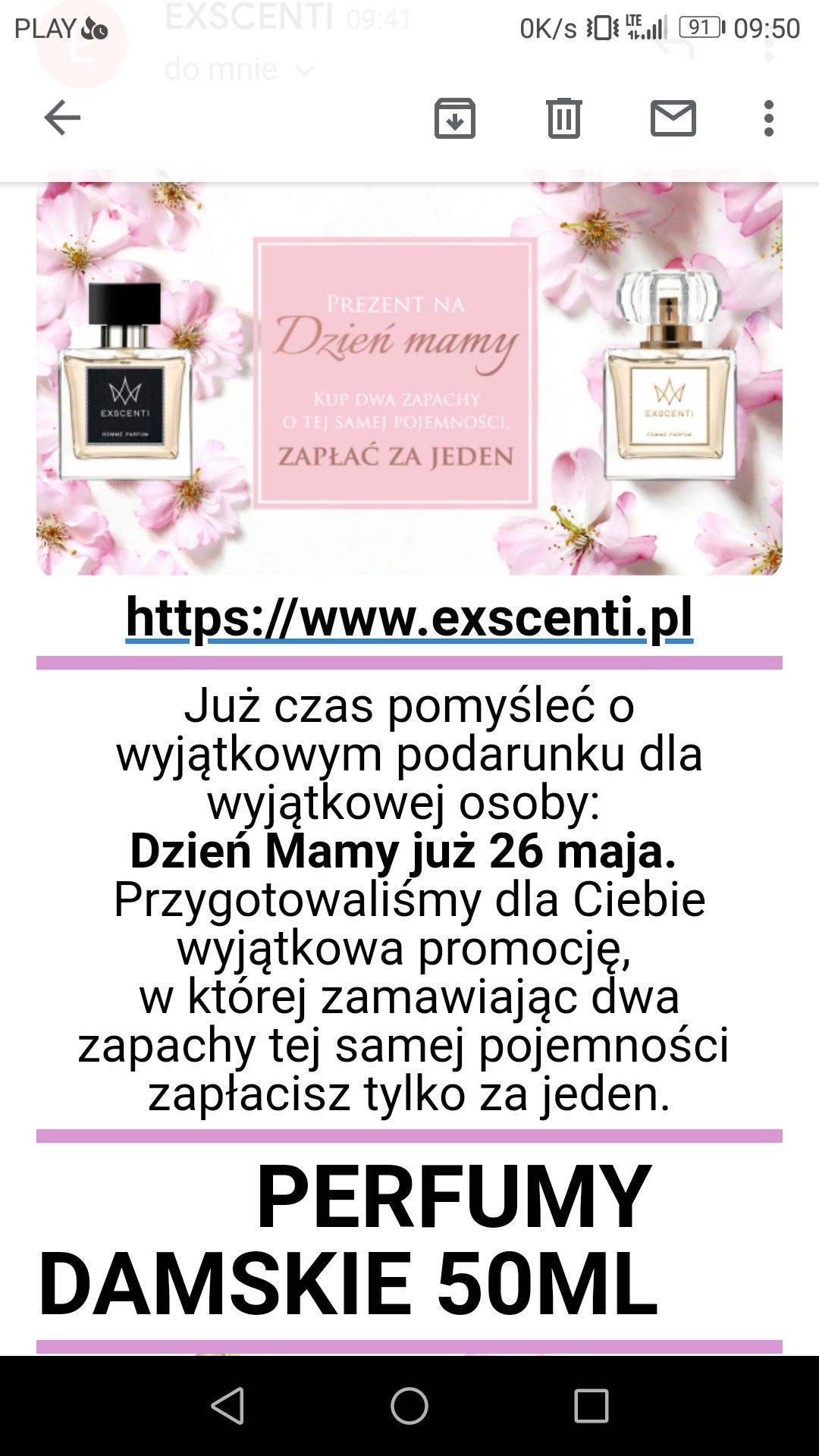 2x (2 w cenie 1)perfumy Exscenti na dzień matki