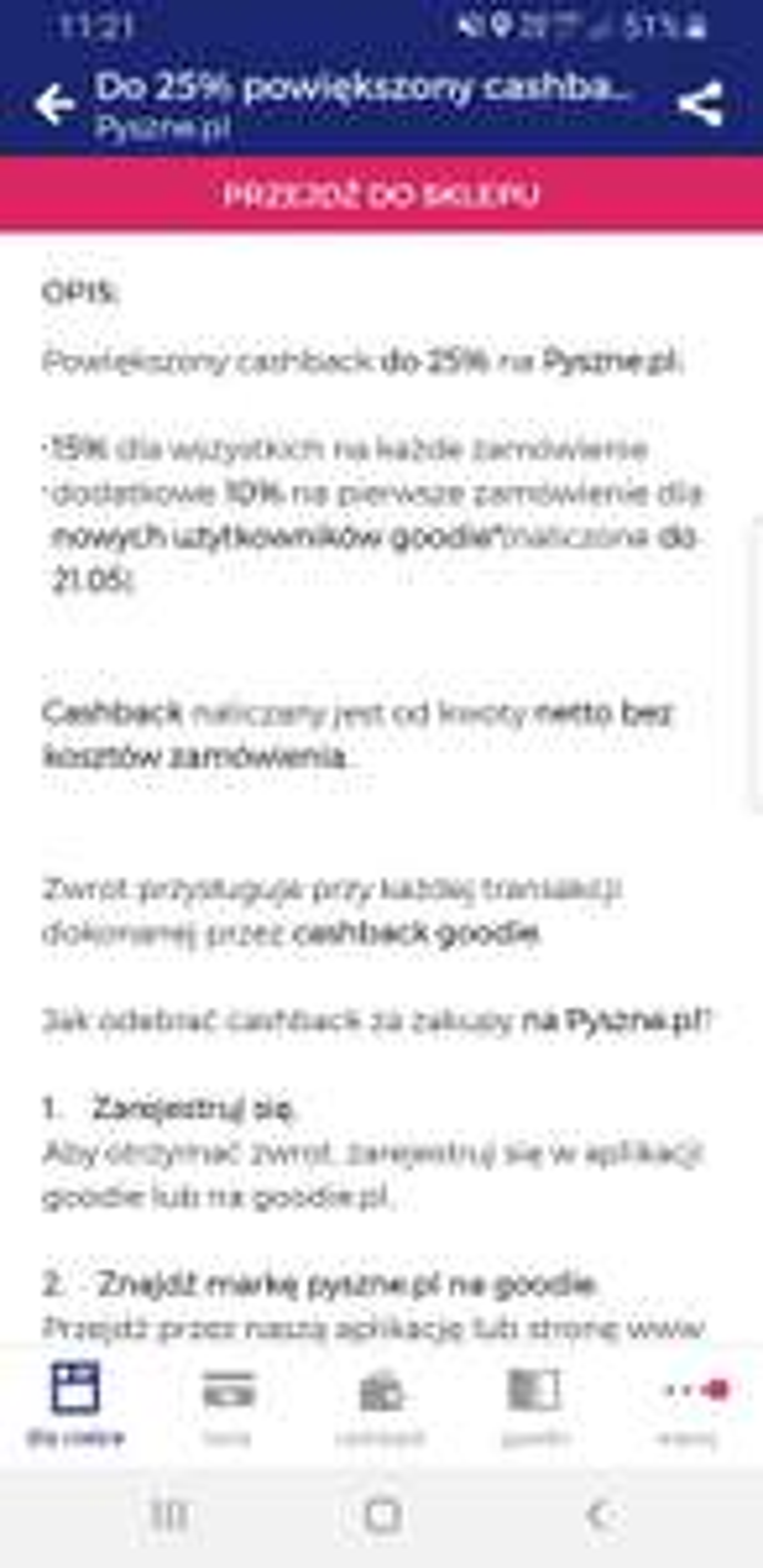 Pyszne.pl - cashback do 25% od goodie
