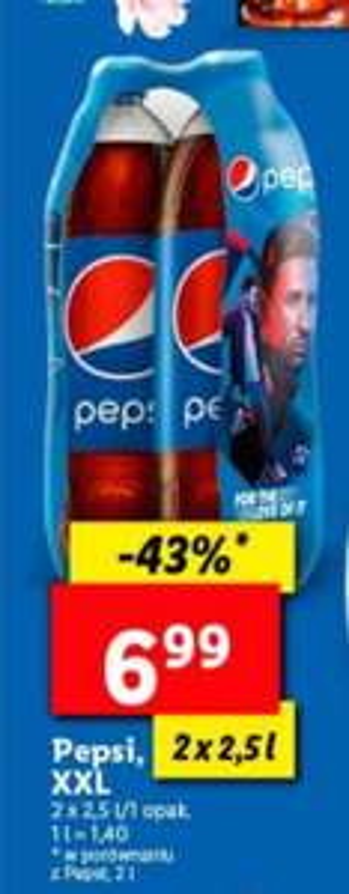Pepsi 2x2,5 l od Poniedziałku Lidl 1,4 zł za litr