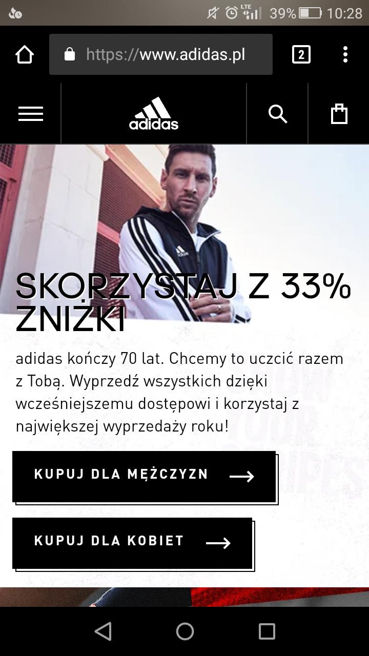 Adidas -33% na wybrane produkty