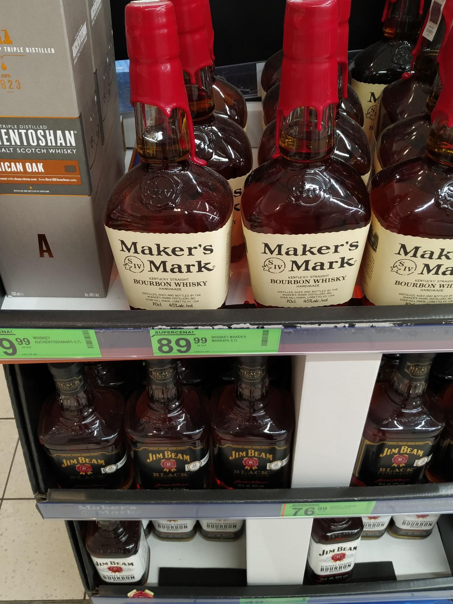 Maker's Mark i inne whiskey. Biedronka/Bydgoszcz-ujejskiego