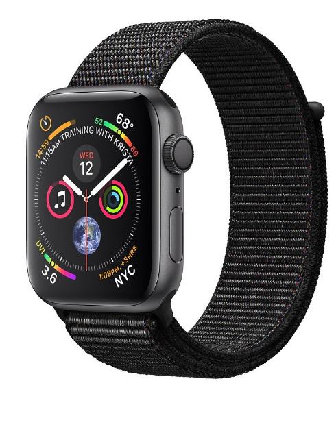 Apple Watch 4 - gwiezdna szarość aluminium 40   czarna sportowa opaska. Komputronik , oficjalny reseller apple.