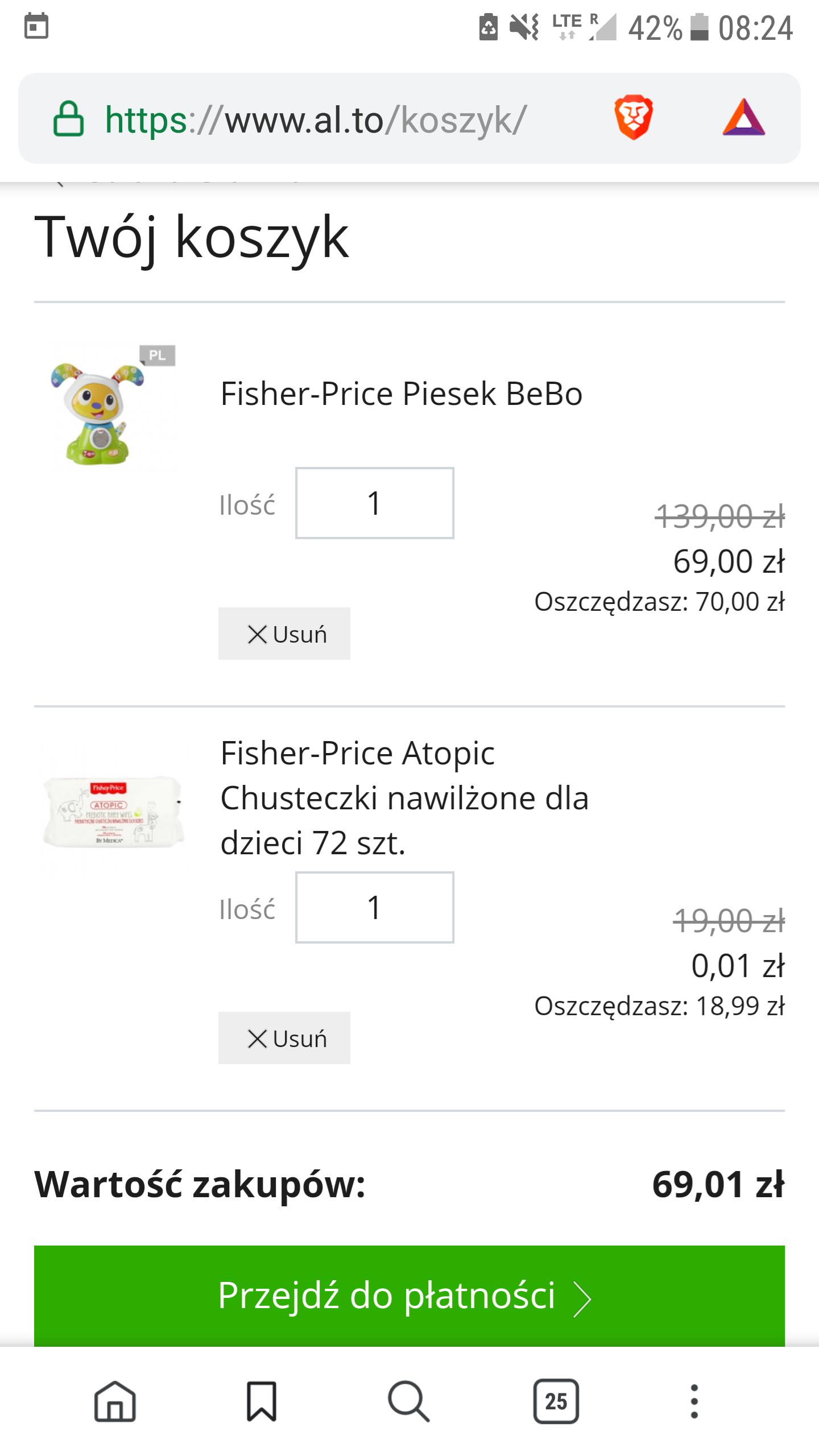Fisher-Price piesek bebo + chusteczki atopic