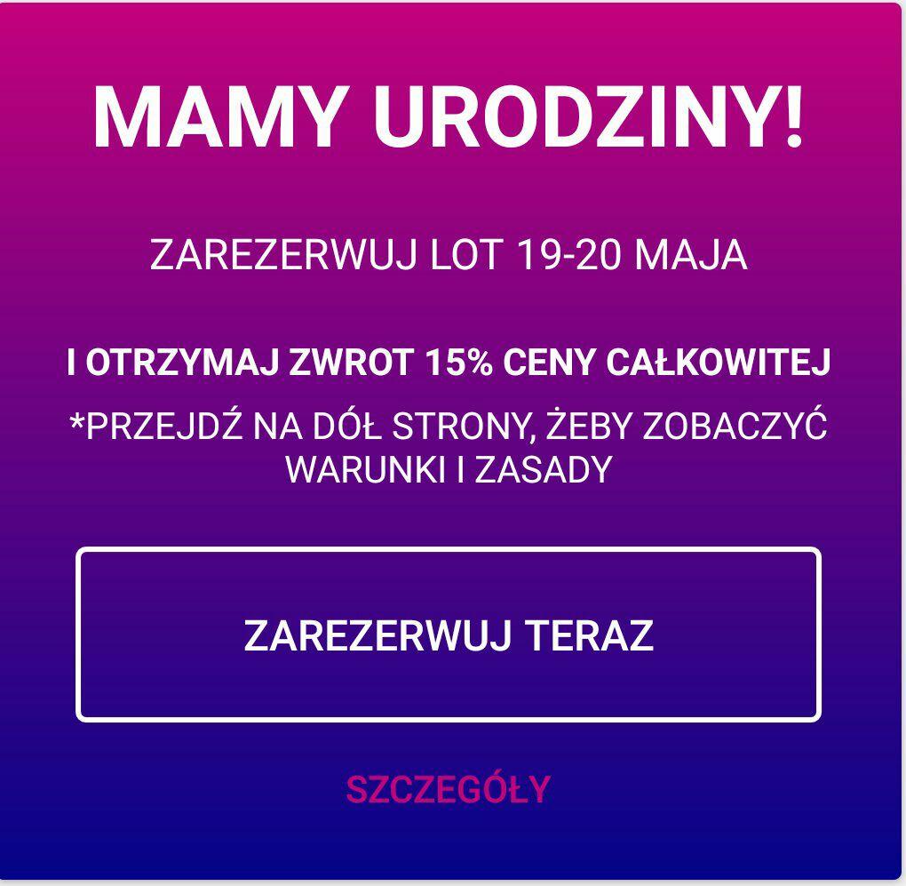 Wizzair -15% zwrotu za rezerwację od 19 do 21.05