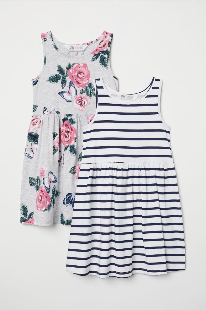 H&M Dziewczęca dżersejowa sukienka 2-pak