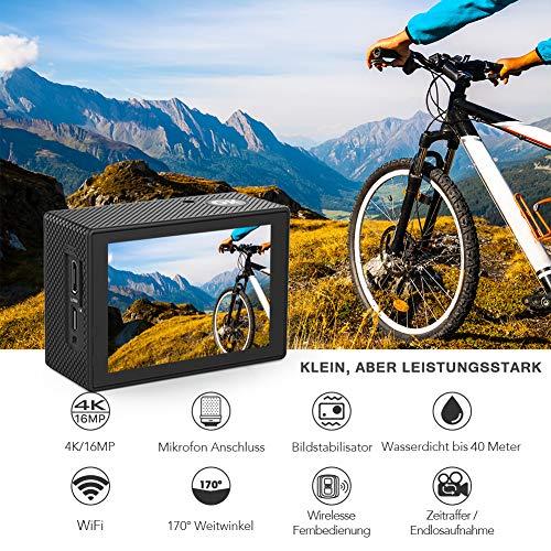 Crosstour kamera sportowa 4K, wodoszczelna, z 2 akumulatorkami