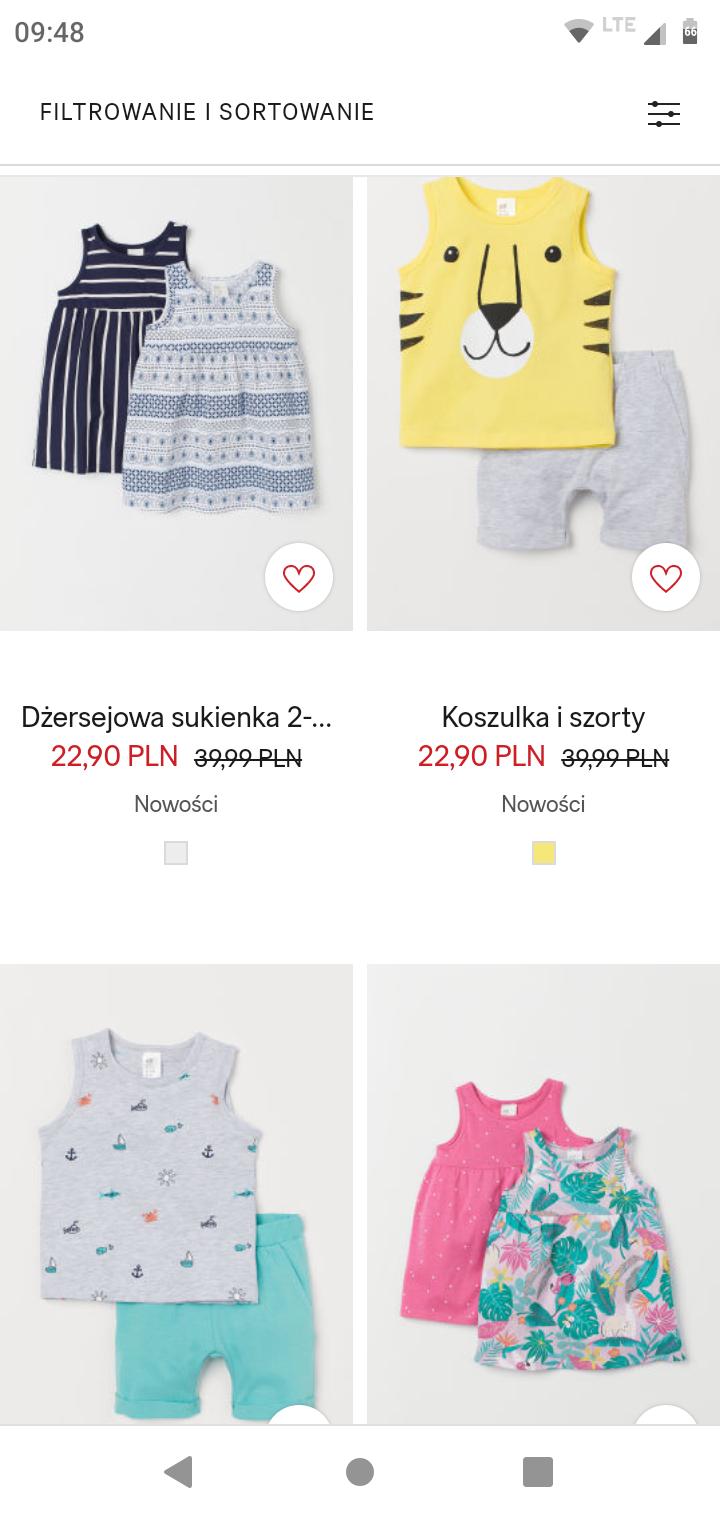 Letnie zestawy dziecięce w H&M za 19,46