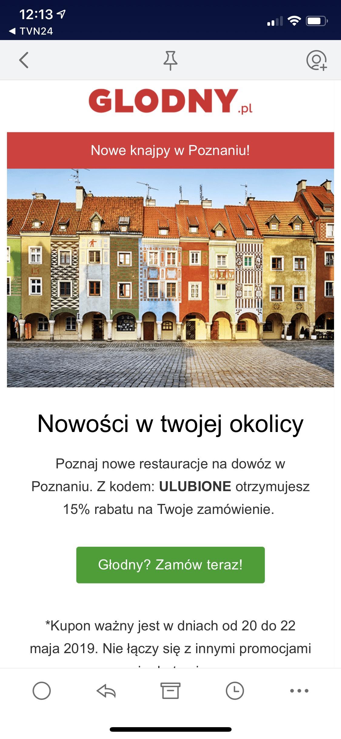 Zniżka 15% na zamówienie za pośrednictwem Glodny.pl