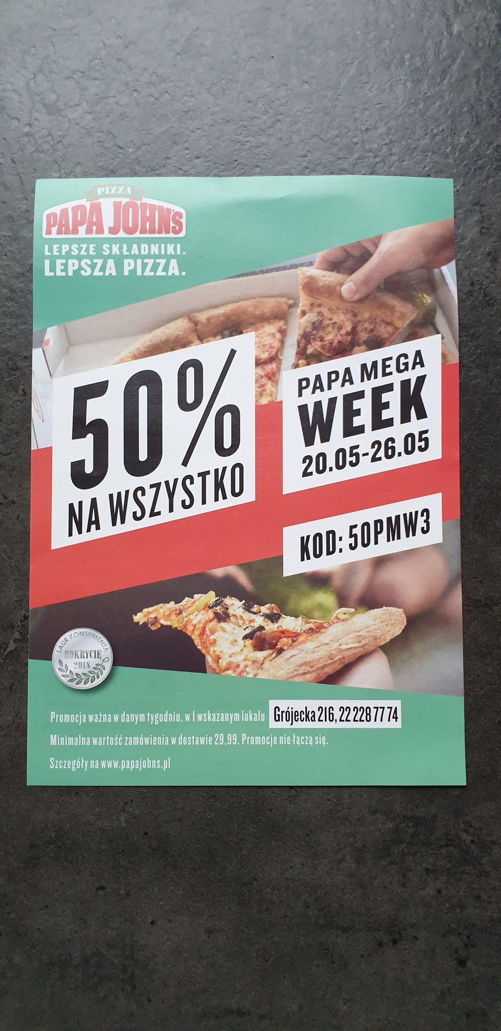 Pizza za 50% ceny 2 PapaJohns