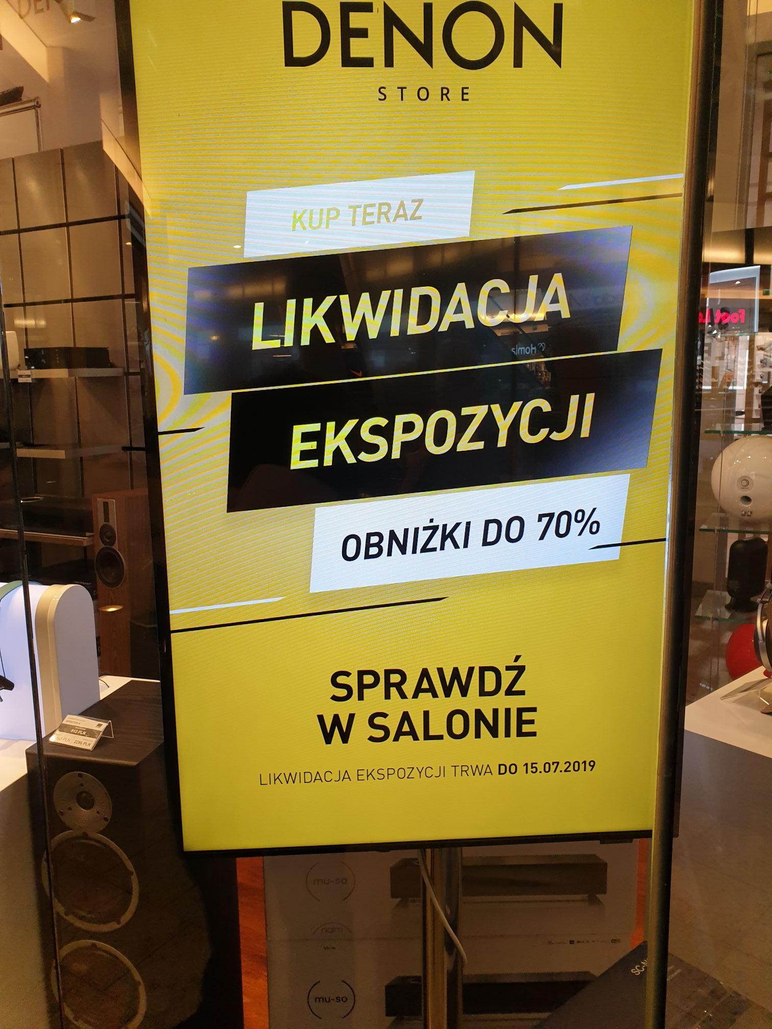 Likwidacja ekspozycji Denon do -70% w Złotych Tarasach
