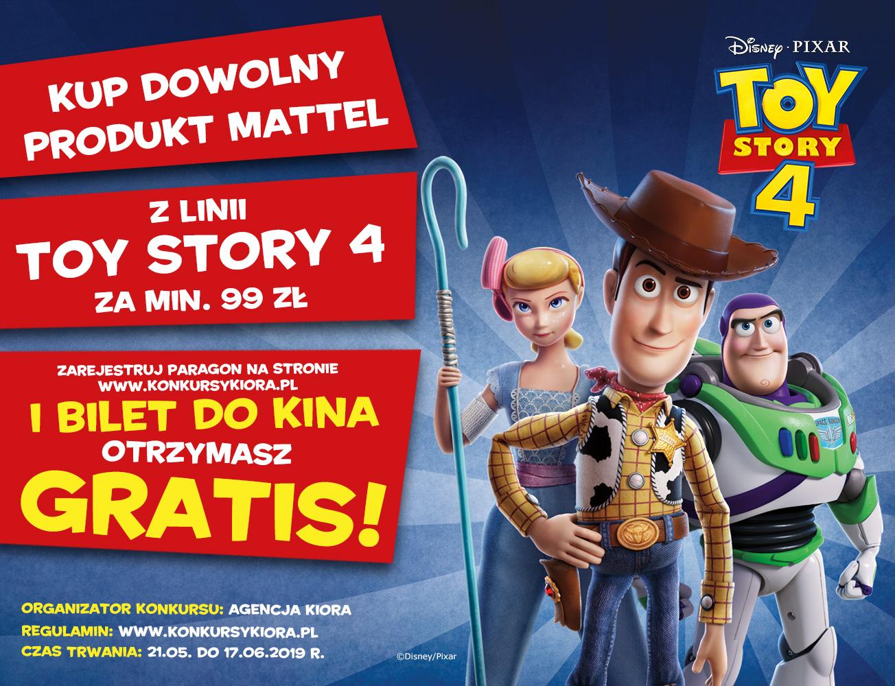Bilet do kina gratis przy zakupie produktów Mattel z linii Toy Story4 za min.99zł @ Carrefour