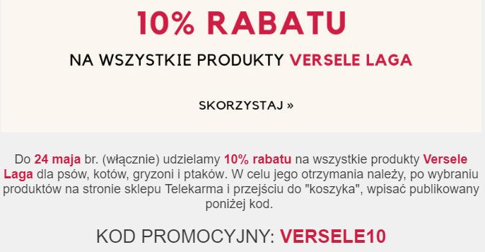 10% rabatu na produkty VERSELE LAGA na www.telekarma.pl