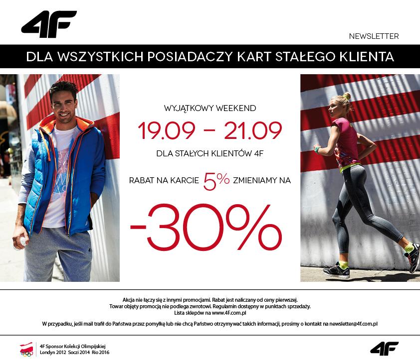 -30% dla stałych klientów na cały asortyment! @ 4F